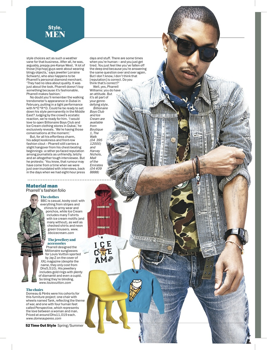 Pharrell Williams: Time Out Style Launch Issue Cover Story